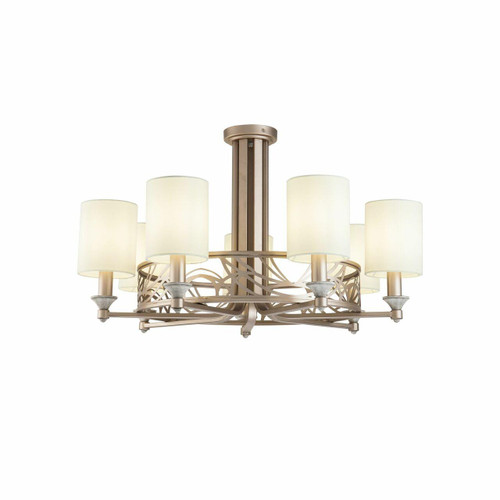 Maytoni Vittoria 7 Light Antique Gold and Cream with Fabric Shades Pendant Light