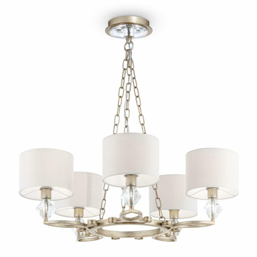 Maytoni Luxe 5 Light Antique Gold and Glass with Cream Fabric Shades Pendant Light