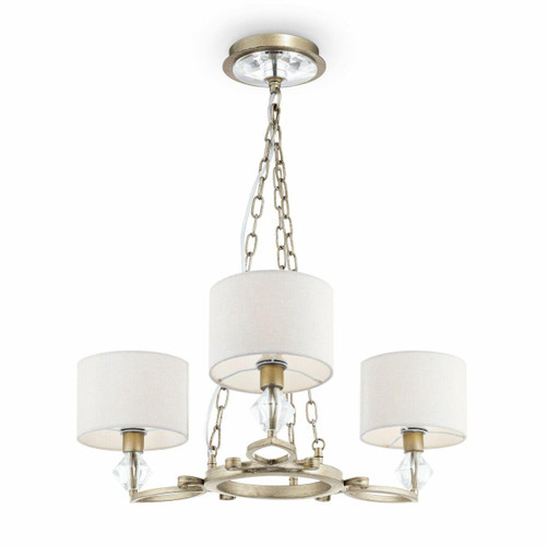 Maytoni Luxe 3 Light Antique Gold and Glass with Cream Fabric Shades Pendant Light