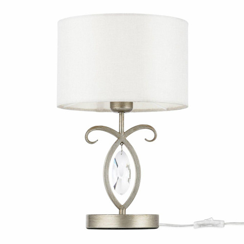 Maytoni Luxe Antique Gold and Glass with Cream Fabric Shade Table Lamp