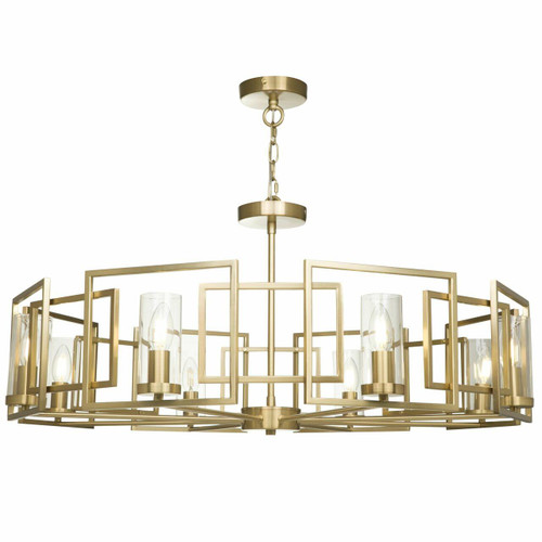 Maytoni Bowi 8 Light Gold and Smoked Glass Pendant Light