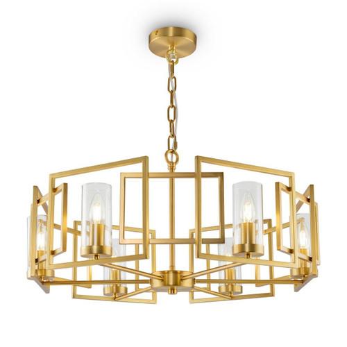 Maytoni Bowi 6 Light Gold and Smoked Glass Pendant Light