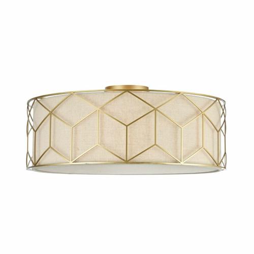 Maytoni Messina 5 Light Gold with Cream Linen Shade Semi Flush Ceiling Light