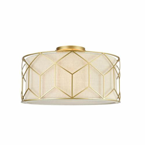 Maytoni Messina 3 Light Gold with Cream Linen Shade Semi Flush Ceiling Light