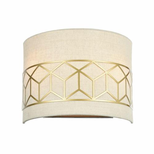 Maytoni Messina 2 Light Gold with Cream Linen Shade Wall Light