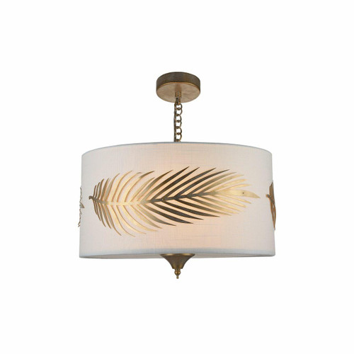 Maytoni Farn 3 Light Antique Gold with White Fabric Shade Pendant Light