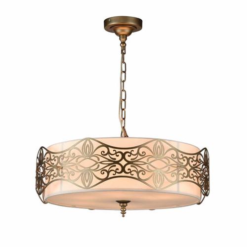 Maytoni Burgeon 6 Light Antique Gold with Cream Fabric Shade Pendant Light