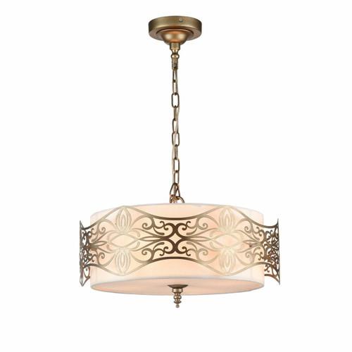 Maytoni Burgeon 4 Light Antique Gold with Cream Fabric Shade Pendant Light