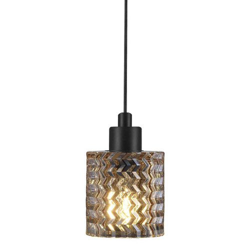 Hollywood Black with Amber Glass Pendant Light