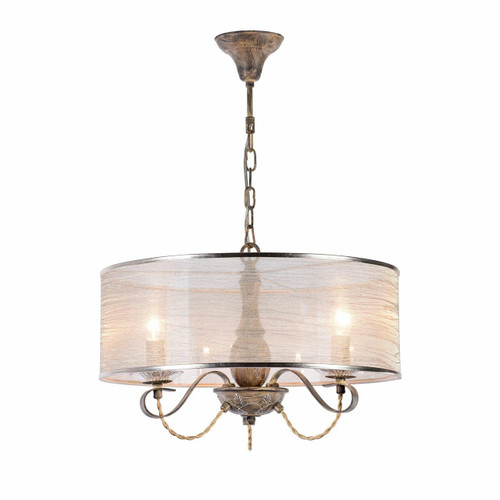 Maytoni Cable 3 Light Antique Bronze with Organza Shade Pendant Light