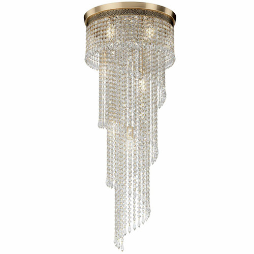 Maytoni Cascade 12 Light Antique Gold and Brass Crystal Ceiling Light