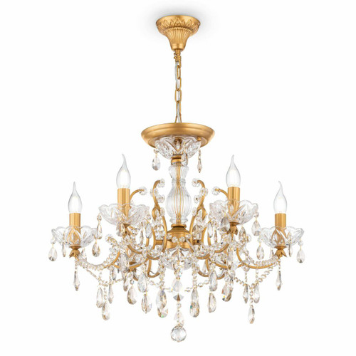 Maytoni Sevilla 6 Light Gold and Crystal Ceiling Light