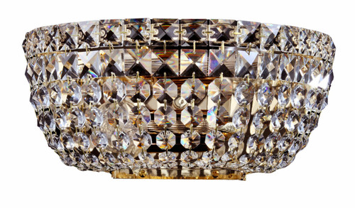 Maytoni Basfor 2 Light Gold and Crystal Wall Light