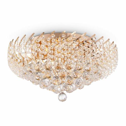 Maytoni Karolina 9 Light Gold and Crystal Ceiling Light