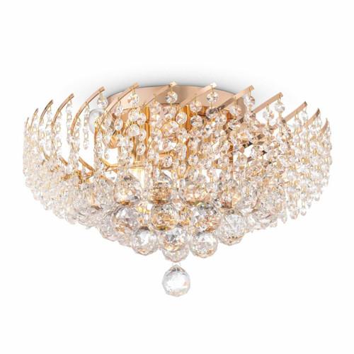 Maytoni Karolina 6 Light Gold and Crystal Ceiling Light
