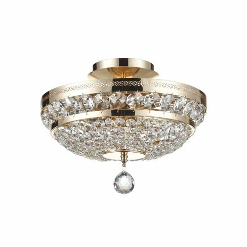 Maytoni Ottilia 3 Light Gold and Crystal Ceiling Light