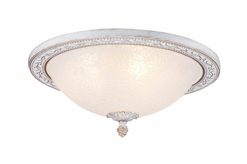 Maytoni Aritos 3 Light Antique Gold and White Flush Ceiling Light