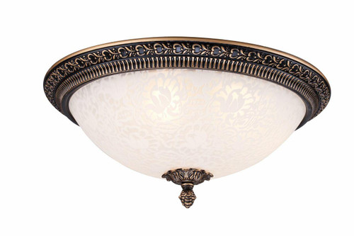 Maytoni Pascal 3 Light Antique Brass with Etched Glass Diffuser Flush Ceiling Light