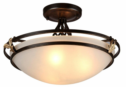 Maytoni Combinare 3 Light Antique Bronze with Frosted Glass Semi-Flush Ceiling Light
