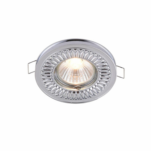 Maytoni Metal Classic Polished Chrome Ribbed Patterned Recessed Downlight