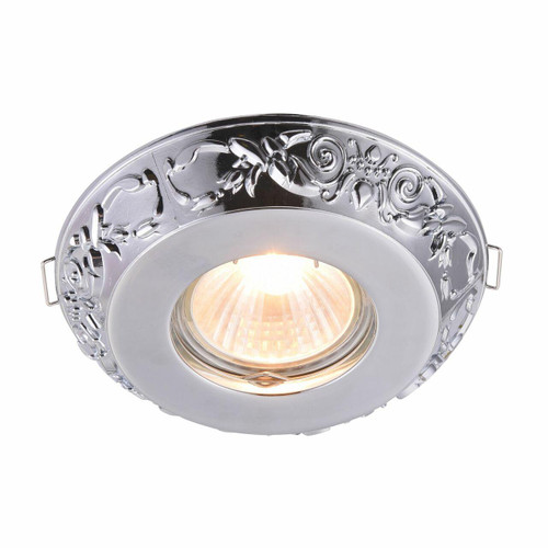 Maytoni Metal Classic Polished Chrome Floral Patterned Recessed Downlight