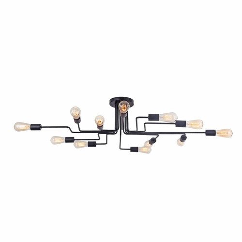 Maytoni Gilbert 12 Light Matt Black Modern Semi-Flush Ceiling Light