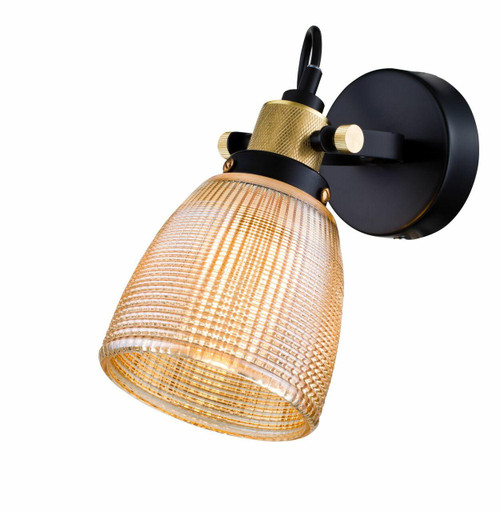 Maytoni Tempo Black and Gold Detail with Champagne Glass Shade Wall Light