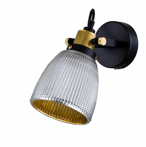 Maytoni Tempo Black and Gold Detail with Silver Glass Shade Wall Light