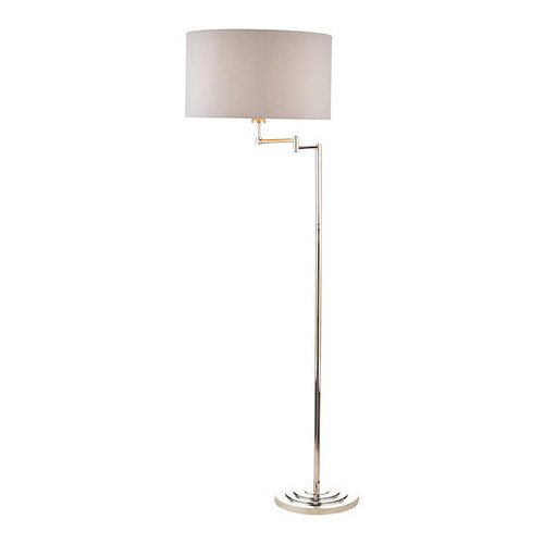 Laura Ashley Marlowe Polished Nickel Swing Arm with Shade Floor Lamp