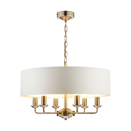 Sorrento 6 Light Antique Brass Armed Fitting with Ivory Shade Ceiling Light