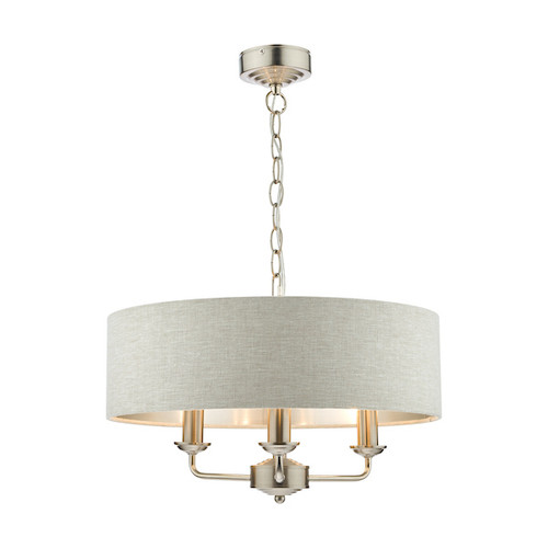 Sorrento 3 Light Brushed Chrome Armed Fitting with Natural Shade Ceiling Light