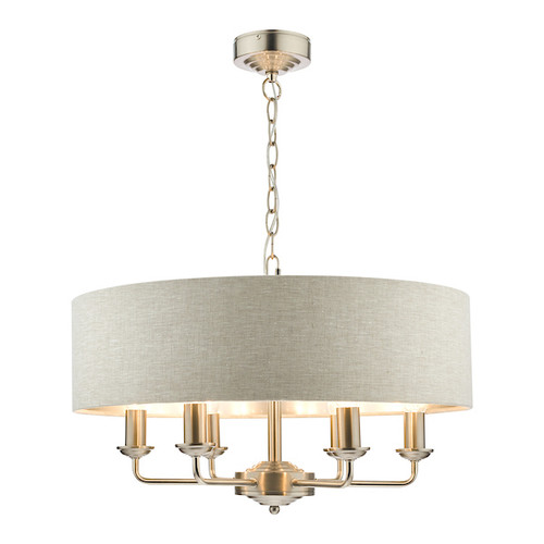 Sorrento 6 Light Brushed Chrome Armed Fitting with Natural Shade Ceiling Light