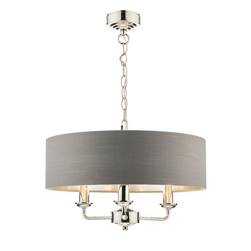Laura Ashley Sorrento 3 Light Polished Nickel Armed Fitting with Charcoal Shade Ceiling Light