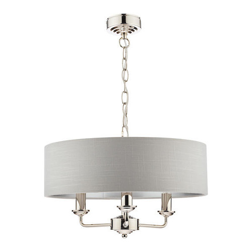 Laura Ashley Sorrento 3 Light Polished Nickel Armed Fitting with Silver Shade Ceiling Light