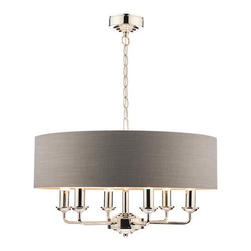 Laura Ashley Sorrento 6 Light Polished Nickel Armed Fitting with Charcoal Shade Ceiling Light