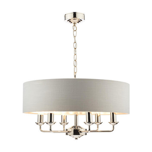 Laura Ashley Sorrento 6 Light Polished Nickel Armed Fitting with Silver Shade Ceiling Light