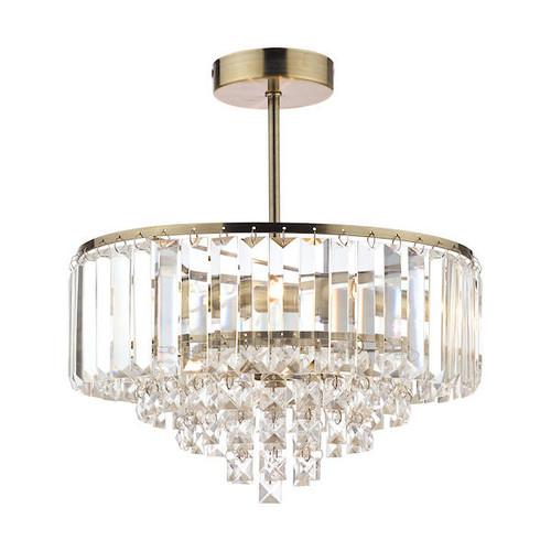 Laura Ashley Vienna 3 Light Crystal and Antique Brass Semi Flush Ceiling Light