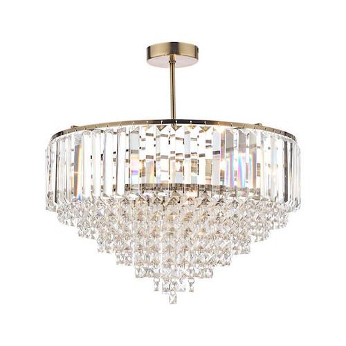 Laura Ashley Vienna 5 Light Crystal and Antique Brass Semi Flush Ceiling Light