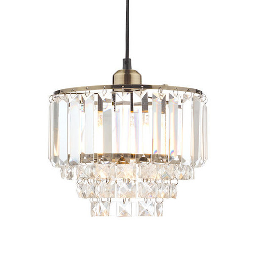 Laura Ashley Vienna Crystal and Antique Brass Easy-Fit Pendant Shade Only