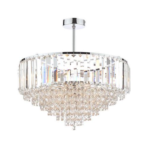 Laura Ashley Vienna 5 Light Crystal and Polished Chrome Semi Flush Ceiling Light