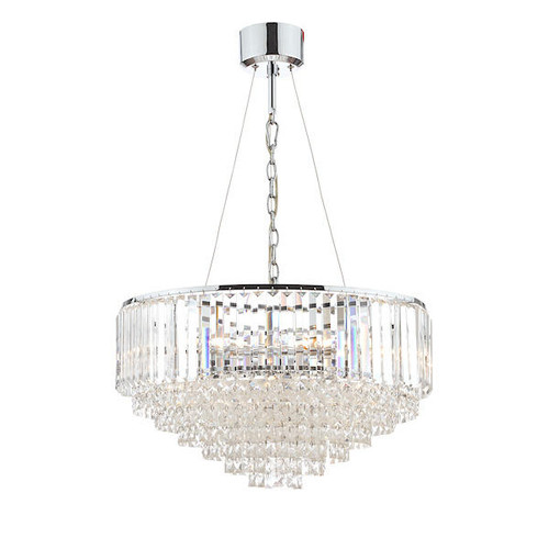 Laura Ashley Vienna 9 Light Crystal and Polished Chrome Chandelier