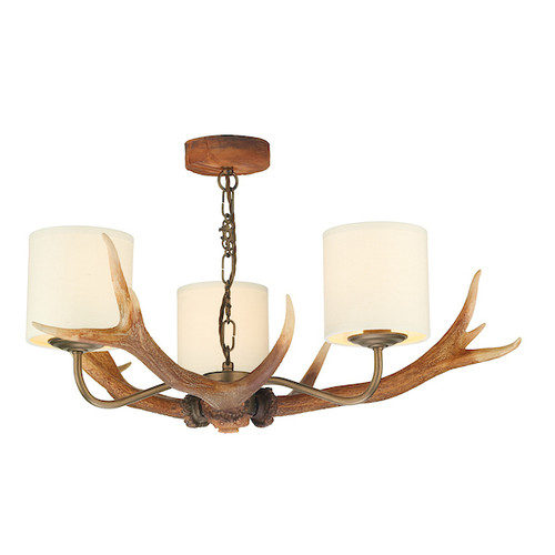 Antler 3 Light with Shades Pendant Light