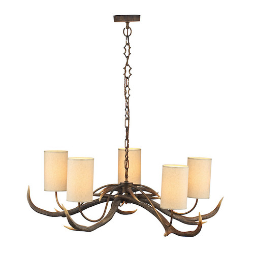 Antler 5 Light Rustic with Shades Pendant  Light