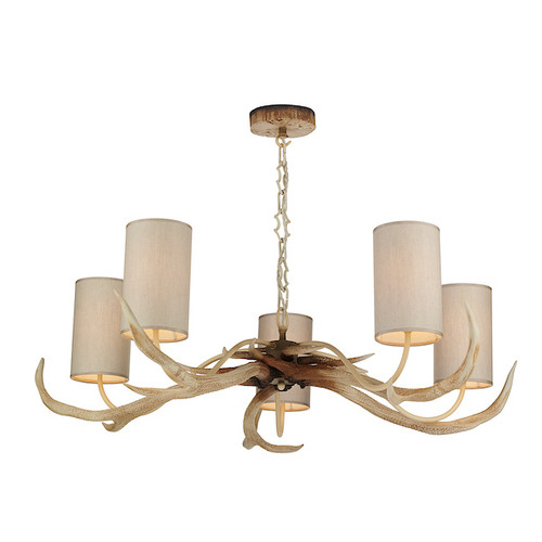 Antler 5 Light Bleached with Shades Pendant Light