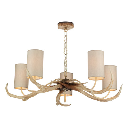 Antler 5 Light Bleached with Silk Shades Pendant Light