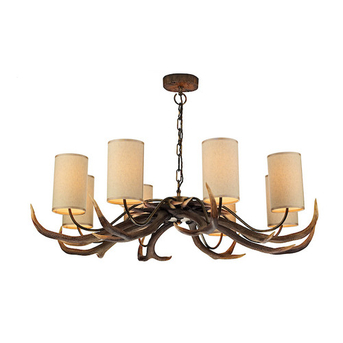 Antler 8 Light Rustic with Shades Pendant Light