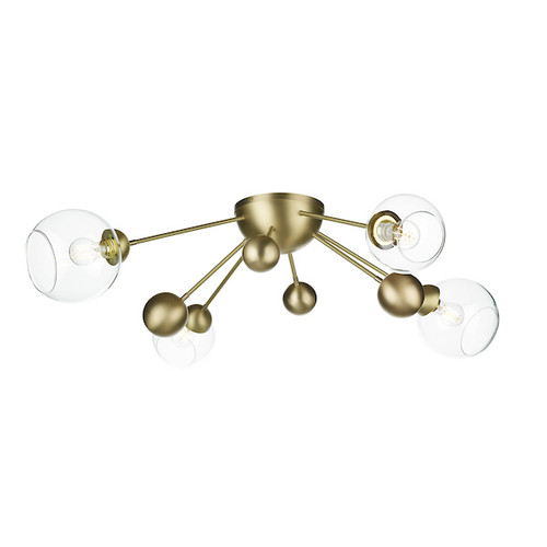 COSMOS 4 light Butter Brass Semi-Flush Ceiling Light
