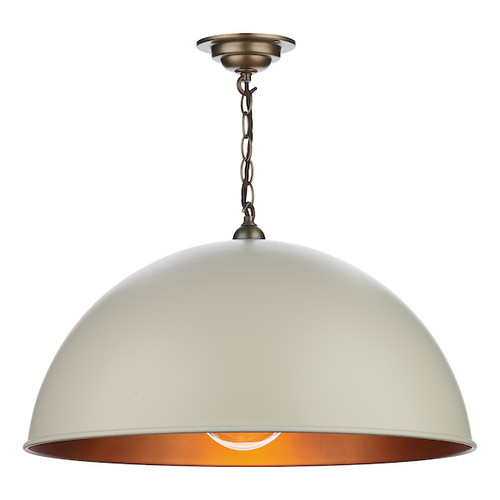 Ealing Large Antique Brass with Metal Shade Single Pendant Light
