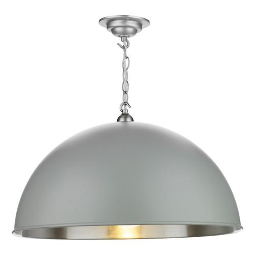 Ealing Large Brushed Chrome with Metal Shade Single Pendant Light