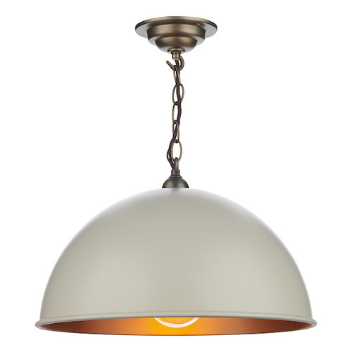 Ealing Antique Brass with Metal Shade Single Pendant Light